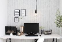 Home Office: Creative in Balck & White / Hopefully this board will give you ideas on how to be creative using almost all white in your home office.  Especially if it's a nook or small room, you cannot go past white for giving a room a feeling of welcoming space.