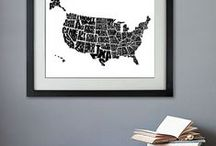 Black and White Word Maps and Typography Posters / Black and White print or canvas designs.