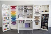 Craft Room Organization / Ideas for my dream craft room. In all honesty, I don't think my room would ever be as organized as these ideas & layouts.