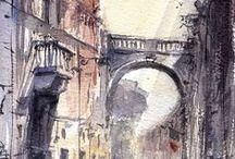 °Art: Town in watercolor° / Зарисовки города в акварели