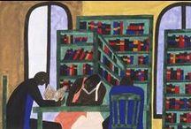 """Jacob Lawrence - Biblioteques / Jacob Armstead Lawrence (Atlantic City, Nueva Jersey, 1917 – Seattle, Washington, 2000) pintor afroamericà. Lawrence es va referir al seu estil com """"dinàmic cubisme"""". New York Times el va descriure com """"un dels pintors figuratius moderns líders dels Estats Units"""" i """"entre els cronistes visuals més apassionats de l'experiència afroamericana."""" Deixeble de Charles Alston, de qui va aprendre a evitar les cares (denuncia la invisibilitat social ) pertany al corrent cultural Renaixement de Harlem,"""