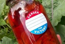 """Victory Garden / Dig for victory! Grow your own food! WW2 vintage propaganda encouraged people to lessen pressure on the public food supply. """"War gardens"""" were empowering to gardeners. Shop for victory garden canning jar labels at CanningCrafts.com"""