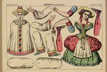 """Pantins / Mot d'origen francès que, traduït al català, vol dir """"titella"""". Pensats perquè els infants retallin amb tisores les peces que hi apareixen i, una vegada muntades, hi puguin jugar. Aquests són els pantins del Fons Joan Amades de la DGCPAAC."""
