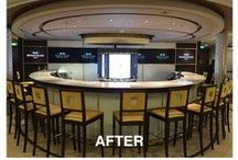 World Class Bar On Board the Reflection / Before & after views of the World Class Bar designed and built  by NexusIdeas for Celebrity Cruise Lines and Diageo and installed on the Reflection, with additional detail views.