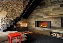 Wooden claddings / Wood inside and outside: fireplaces surrounded by wood panels