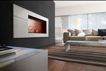 Ceramic, tiles and mosaics / Solid walls made of tiles or mosaics to highlight a fireplace or a stove