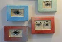 eye paintings on books