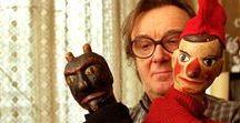 """Puppets / """"A bábu betöretlen csikó, mindegyik más. Sok munka van abban, amíg ez az élettelen test azt csinálja, amit én akarok, le kell faragnom a sutaságát. Én összenövök játszótársaimmal"""" /Szakály Márta bábművész/  Puppets,marionettes,carved wood figure,pup hand puppets."""