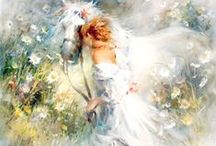 Willem Haenraets art / With soft colors, the artist conjures up a romantic world of beautiful illusion on his canvasses. Willem Haenraets was born in Rotterdam on October 9, 1940 and his talent was discovered at an early age. Granted a scholarship for talented students, he received his artistic polish as a master craftsman student of the renowned professors Sarina and Vaarten. Haenraets' creations are evidence that the great tradition of the Belgian-Dutch school has received a flourishing sequel.