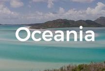 Oceania / We can't speak of Oceania without mentioning Australia, one of the most exotic and diverse country in the world: with mountains, deserts, dream like beaches and national parks,... What else can you ask for... Well, to top it up, this part of the world takes you to the wild new Zealand and dreamy Pacific Islands (our favorites: Fiji and the Cook Islands). Enjoy!