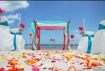 Beach Ceremony Setups / Combining natural bamboo elements with fun colors.