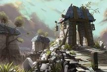 Concept Art: Simple Scenes / Simple, quick to make environments for video game artists to draw inspiration from.
