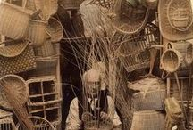 weaving baskets / basketmakers, old pictuers with basketmakers,ethnography