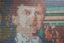 Postzegel kunst. / Postzegel portretten. Onder andere: Koning Willem-Alexander en koningin Máxima en de 3 prinsessen.  #stamps #postzegels #postzegelportret #stamps art #postzegelkunst