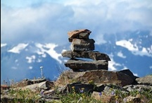 """Rock cairns /  The name """"Cairn"""" refers to the rock dens that foxes and badgers lived in throughout the countryside. The dog would squirm down into these """"cairns"""" and bark to hold the predator until the farmer killed it."""