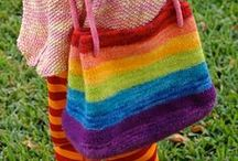 Booga Bag / Hand Knit Felted Bags made using the Booga Bag Pattern by Black Sheep Bags