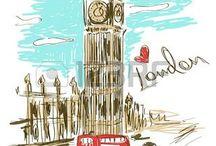 London cab & double decker bus/Лондонское такси и двухэтажный автобус