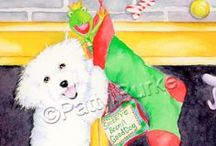 Bichons of Christmas / Bichon Christmas and Holiday cards by Patty Burke