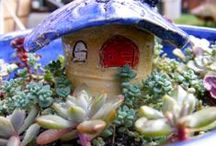 Fairy Gardens & Cottages / What a terrific way to make some thing funky and beautiful from a broken pot! Arrange the pieces, add soil and a few succulents and maybe even a little house on top...perfect for your backyard fairies. And with the help of a talented potter, many whimsical gardens result.