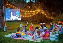 Outdoor Summer Movie / Gathering ideas for an outdoor summer movie night with the family! Trying to recreate that drive-in feel in my own backyard.