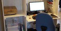 Mobilt kontor / Garderobeskap bygd om til mobilt kontor. Kontor om dagen, snus om kvelden slik at det ser ut som et ordinært skap.