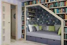 Rooms for reading and bookshelves