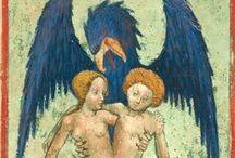"""Aurora consurgens - Aurea hora / Principales illustrations, 26 sur un total de 37 répertoriées, tous manuscrits confondus. Elles se trouvent dans le mss Rhenoviensis 172 de Zurich, le plus ancien des manuscrits (v. 1420) : http://www.e-codices.unifr.ch/fr/zbz/Ms-Rh-0172. Ce manuscrit, incomplet, commence seulement au 9e chapitre de l'Aurore et les illustrations sont dites """"belles symboliquement mais ayant peu de rapport avec le manuscrit"""" par Marie-Louise von Franz (1957)."""