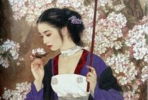 """Art - Zhao Guojing & Wang Mei Fang (Chinese) / Zhao Guojing - 赵国经 was among those young urbanites who were sent """"up to the mountains and down to the villages"""". In 1973, he entered the National Painting Training Section of the Tianjin Art Academy. After 1976, he was employed by the Tianjin Fine Arts Publishing House, where he now is a member of the Comic Strip Editorial Office. A number of his works has been included in national collections. He often collaborates with Ms. Wang Meifang."""