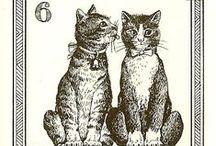 Gatti, Menegazzi Tarot Deck / Gatti, by Osvaldo Menegazzi. The deck of 22 tarot cards was published by Il Meneghello in Italy in 1990.