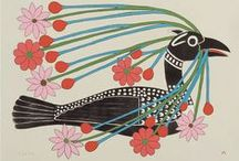 """Inuit Art from Cape Dorset and other communities / Cap Dorset is a thriving Inuit community in the Canada Arctic territory of Nunavut, about 1.200 miles due north of Toronto. It is home to the famed Kinngait (prononced """"King-ite"""") Studios, an internationally renowned printmaking center founded in the late 1950s. The Kinngait Studios produce many prints each year, and these prints are highly prized by art collectors all over the world. The Cape Dorset artists draw animals mor than any other subject."""