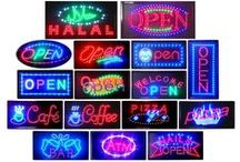 LED Signs / Animated LED business signs.   Designed to help businesses stand out and attract more customers. Made using extra bright LED bulbs. All signs come with power and animation control switches and UL-approved power cords.