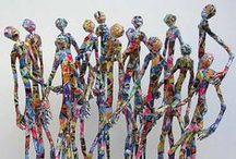sculptures en dur, mosaïques, objets