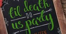 Til Death Do Us Party - QC Halloween Contest / A vision board for an engagement party on the night of Halloween.The couple have asked for the decor to celebrate Autumn and to include Halloween aspects without the use of 'tacky' decorations. The bride likes rustic elegance and classic décor, whereas the groom is drawn to colourful themes. The budget is $3,000 with 100 guests. Please see descriptions on pins to see exactly why each one was chosen and how I think that they will bring the couples vision to life!