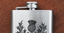 Scottish Practical Gifts / Engraved Glassware, hip flasks, pocket watches, and quaichs