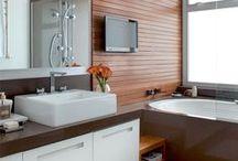 Banheiro e Lavabo / Separei algumas sugestões de decoração de banheiro e lavabo, como fonte de inspiração. Espero que gostem =D Observação: Todas as imagens foram compartilhas no próprio Pinterest.