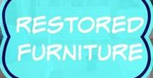 Restored Furniture Ideas / Awesome and simple DIY projects with furniture from thrift stores, vintage or antique.  How to tips for painting wood or laminate dressers, table, chairs and kitchen cabinets with Annie Sloan chalk paint and other paints.  Rustic, distressed white or black, Bohemian, metallic or decorative styles.  Before and after.
