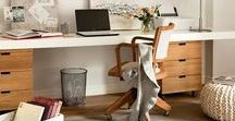 Home Office / Ideas and inspiration for a functional and yet beautiful home office area.  Pretty decor, neutral/ white colors, office storage and display, desk and chair.  Make it your own space!