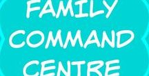 Family Command Centre / Ideas for how to make a family command center.  Use a small space in your home, such as a wall, kitchen area, desk, entryway.  Printables such as family calendar, meal planner, chore chart,  DIY - clipboards or wire baskets.  Rustic, farmhouse, modern, Ikea.