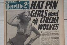 1950s Reveille newspaper headlines, pin ups, adverts & features / Images of the covers of Reveille newspaper from the 1950s featuring pin ups and tabloid headlines.  Also includes some features and advertisements.
