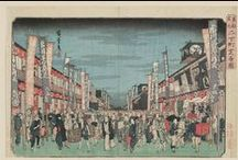 """Famous Views of the Eastern Capital / All works by Utagawa Hiroshige I 歌川広重 (Japanese, 1797–1858)  The city that we know today as Tokyo was officially established in 1603 (on the site of an earlier castle town). By the early 19th century, when these prints were made, it was one of several mega-cities around the world. City life, in all its ephemeral glory, was chronicled in the inexpensive, mass-produced color woodblock prints designed by artists of the school called ukiyo-e, literally """"pictures of the floating world.""""  / by MFA Boston"""
