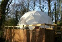 Our Domes at Cosy Under Canvas / The 3 luxurious domes are really popular with our glamping guests. The unique design creates more space without internal supports than any other structure. The domes are an ideal solution for posh camping and living close to nature.