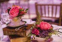 Vintage Tea Theme Wedding Ideas / floral displays and wedding centre-pieces using vintage crockery, tea tins and silver tea sets