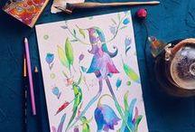 Flower Girls Fairytale illustration / Inspiration watercolor