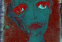 """Linda Vachon / Linda Vachon - Tête de Caboche : """"Artiste en art graphique - autodidacte - passe de l'acrylique au numérique - ou l'inverse - c'est selon - Utilise l'image pour dire les mots du silence - Transforme ses cris en couleurs et en pixels - mélange, superpose et fixe sur panneaux de masonite, des affiches qui parlent de ce qu'elle tait."""" / by BlueSun"""