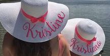 Personalized Mommy and me set / Personalized floppy straw hats for mommy and little princess