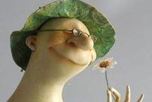 Onni on olla vähän hupsu ja onnellinen / funny and happy art dolls