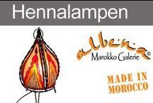 Marokkanische Hennalampen / Lederlampen aus Marokko, kunstvoll mit Henna verziert.