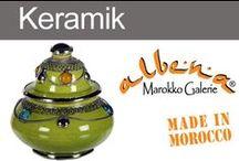 Dekorative Keramik aus Marokko / Die orientalischen Keramikartikel aus Marokko sind berühmt und auf einen Blick, lässt sich ihre Herkunft erkennen. Typisch, die warmen Farben und die geschmackvollen Silberverzierungen.