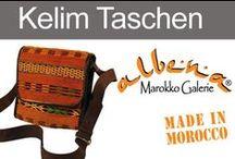 Marokkanische Kelim-Taschen / Taschen & Rücksäcke aus marokkanischem Kelim und echtem Leder.