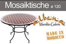 Mosaiktische ø 120cm / Marokkanische Mosaik - Esstische für bis zu 6 Personen. Die großen marokkanischen Mosaiktische bieten Platz für die ganze Familie. Ob als Blickfang im Garten oder orientalischer Akzent im Wohnbereich verbreiten diese außergewöhnlichen Mosaiktische stets ihren ganz besonderen Charme. Hier stehen jeweils zwei unterschiedliche Tischgestelle zur Auswahl, so dass Sie Ihren persönlichen Mosaiktisch ganz individuell zusammenstellen können.
